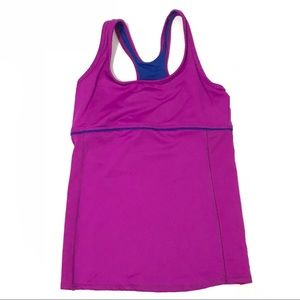Gym Tank Top M Purple Fitted Built In Bra Yoga 30